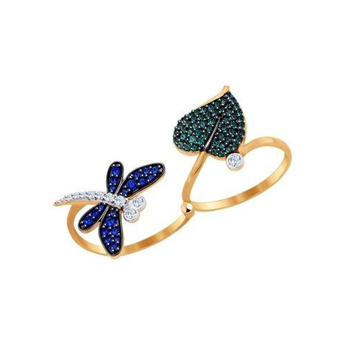 Кольцо из золота с синими и зелёными фианитами