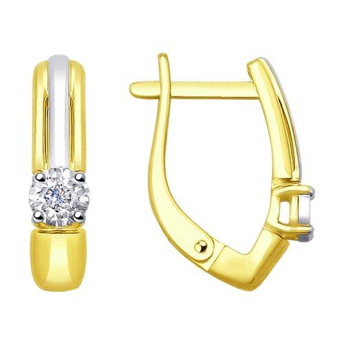 Серьги из комбинированного золота с бриллиантами (1021228-2) - фото