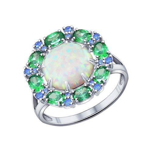 Кольцо из серебра с опалом и синими и зелеными фианитами