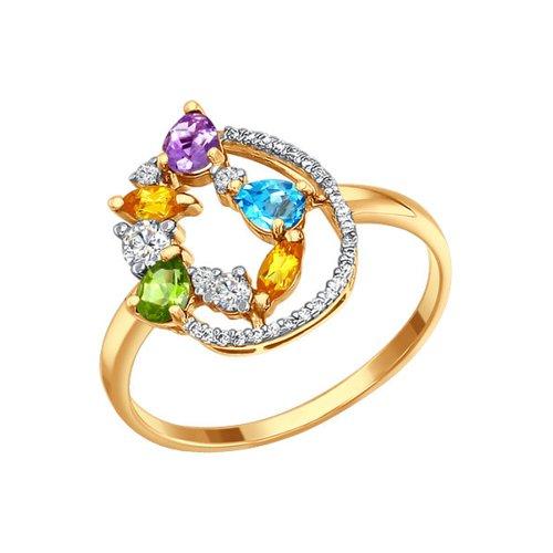 Золотое кольцо с полудрагоценными камнями SOKOLOV золотое кольцо ювелирное изделие 01k663088