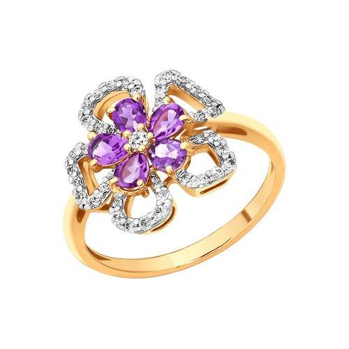 Кольцо SOKOLOV из золота c фианитами и аметистами «Гибискус» стоимость