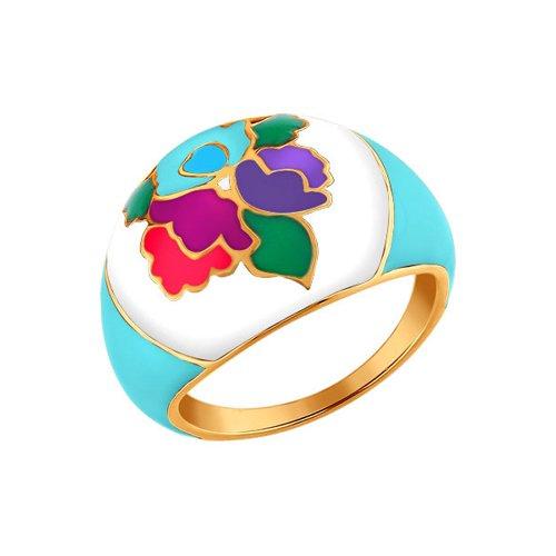Позолоченное кольцо с разноцветной эмалью