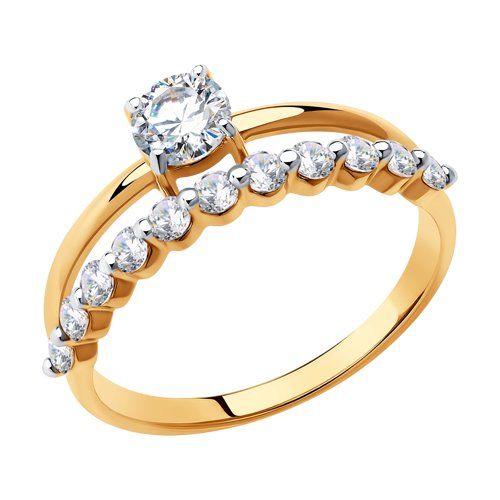 Кольцо из золота с фианитами Swarovski (81010466) - фото