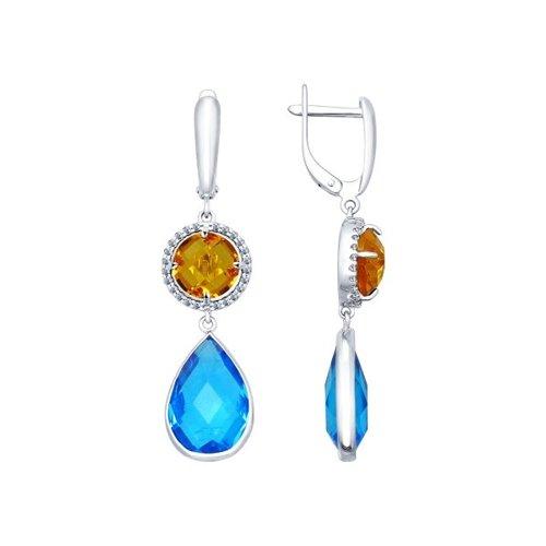 Серьги длинные из серебра с голубыми и жёлтыми стеклянными вставками и фианитами
