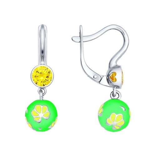 Серьги из серебра с эмалью с жёлтыми фианитами