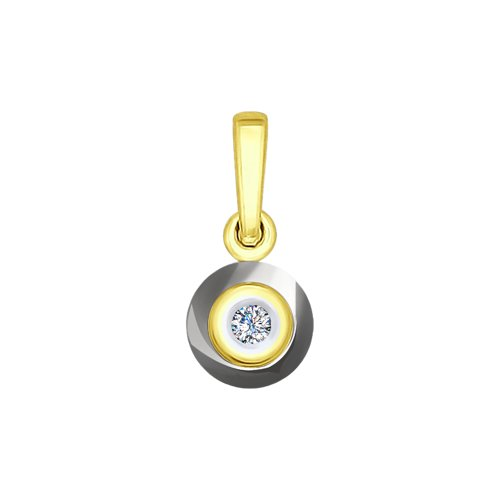 Подвеска из желтого золота с бриллиантом и керамической вставкой цены онлайн