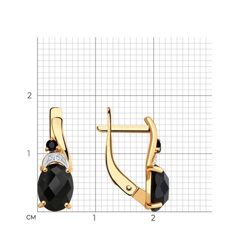 Серьги из золота с чёрными агатами и бесцветными и чёрными фианитами 725524 SOKOLOV фото 2