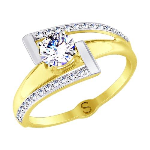 Кольцо из желтого золота с фианитами (017767-2) - фото