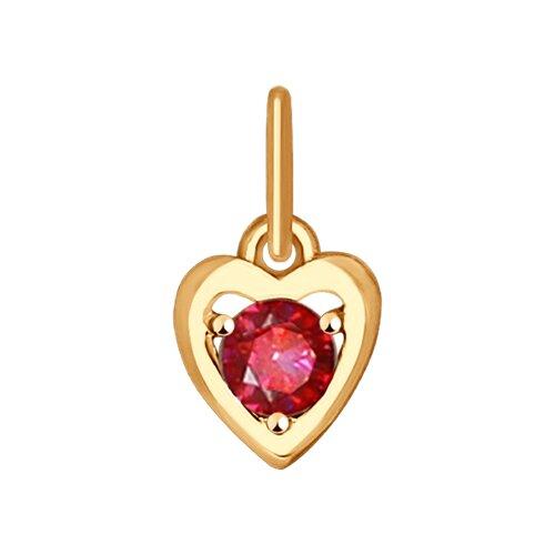 Подвеска в форме сердца из золота с красным фианитом (035237) - фото