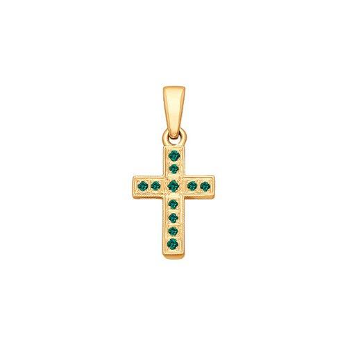 Крест из золота с изумрудами (3120006) - фото