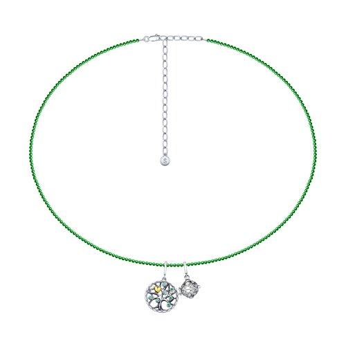 Колье из серебра с кварцем и зелеными фианитами