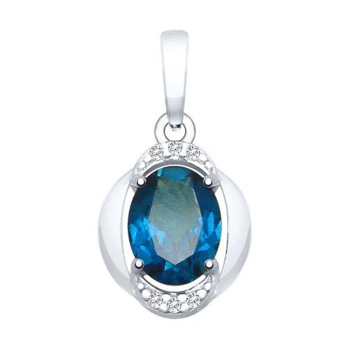 Подвеска из серебра с синим топазом и фианитами 92030465