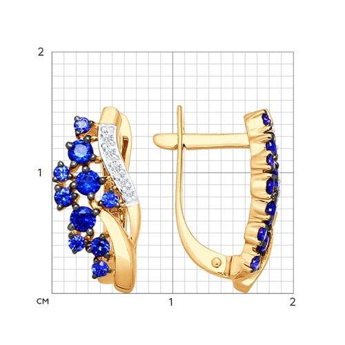 Серьги из золота с бриллиантами и корундами сапфировыми (синт.) 6022038 SOKOLOV фото 2