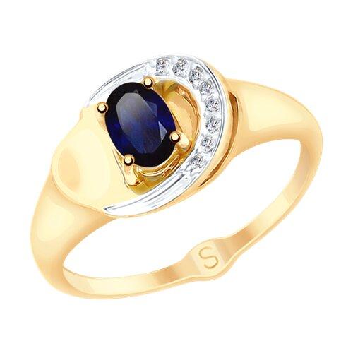 Кольцо из золота с синим корундом (синт.) и фианитами (715190) - фото