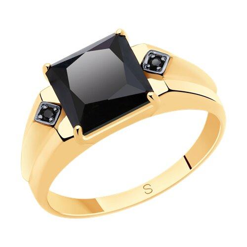 Кольцо из золота с ониксом и фианитами