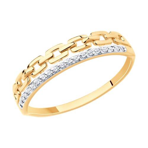 Кольцо из золота с фианитами (017231) - фото
