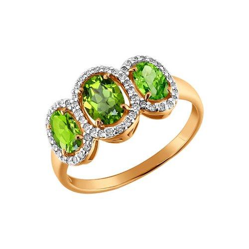 Золотое кольцо с тремя хризолитами SOKOLOV изящное золотое кольцо с хризолитами sokolov
