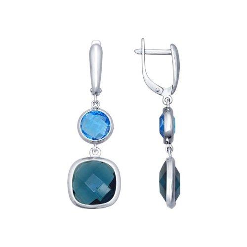 Серьги длинные из серебра с синими и голубыми стеклянными вставками