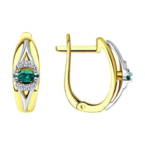 Серьги из комбинированного золота с бриллиантами и изумрудами