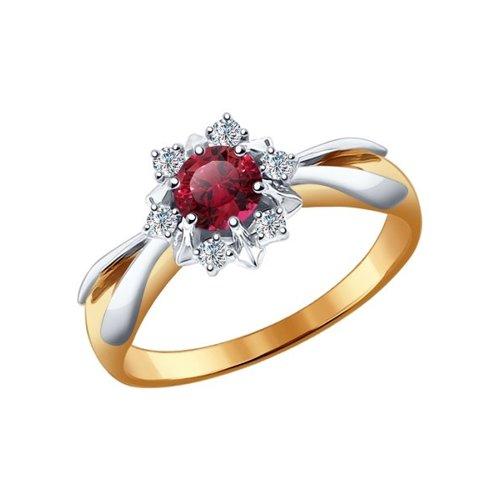Кольцо из комбинированного золота с рубином и топазами Swarovski