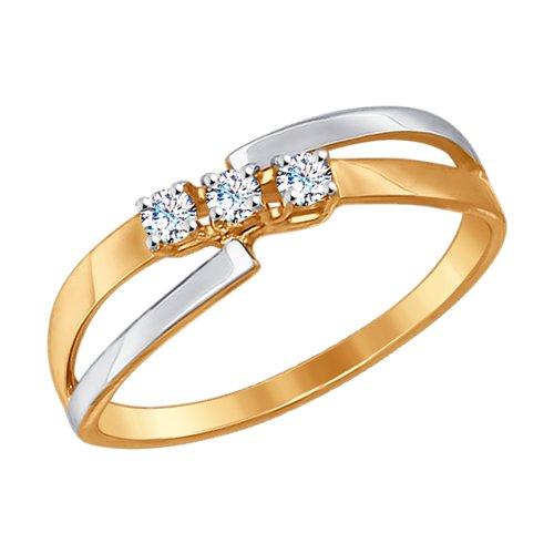 Кольцо из золота с фианитами (017229-4) - фото