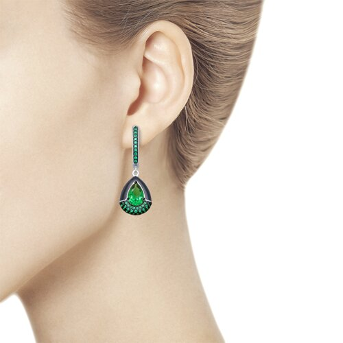 Серьги из серебра с эмалью и зелеными ситаллами и фианитами (92021890) - фото №2