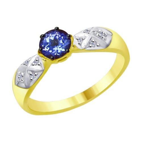 Кольцо из желтого золота с бриллиантами и танзанитом (6014051-2) - фото