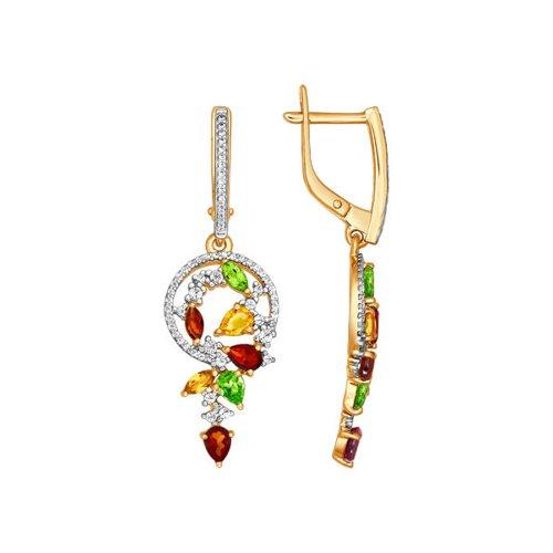 Серьги длинные SOKOLOV из золота с миксом камней серьги длинные sokolov из золота с миксом камней