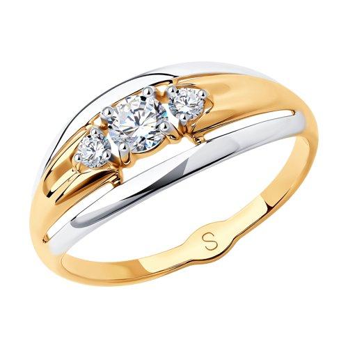 Кольцо из золота с фианитами (017940) - фото