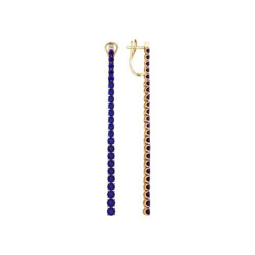 Серьги длинные из золота с бриллиантами и корундами сапфировыми (синт.) (6022073) - фото