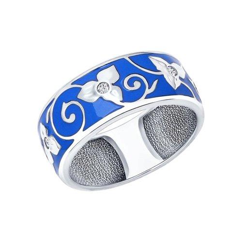 Фото - Кольцо SOKOLOV из серебра с эмалью с фианитами кольцо змейка с фианитами из серебра