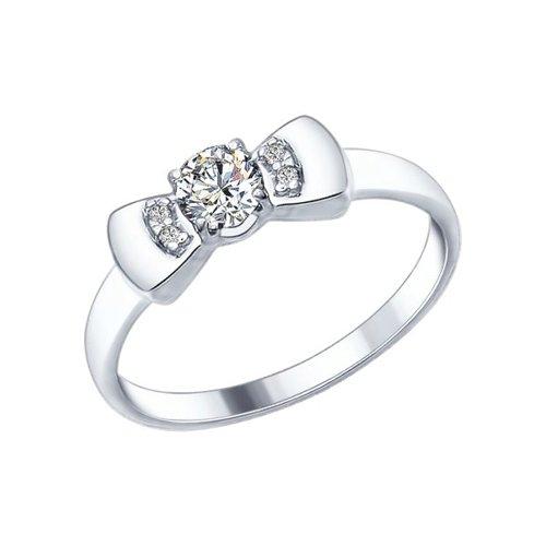 Кольцо с бантиком из серебра