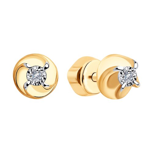 Серьги из золота с бриллиантами (1021310) - фото №2