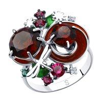 Кольцо из серебра с эмалью и красными ситаллами и фианитами