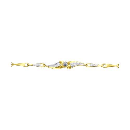 Браслет из желтого золота с бриллиантами (1050057-2) - фото