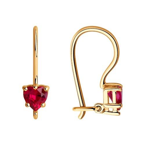Серьги из золота с красными фианитами (021934) - фото
