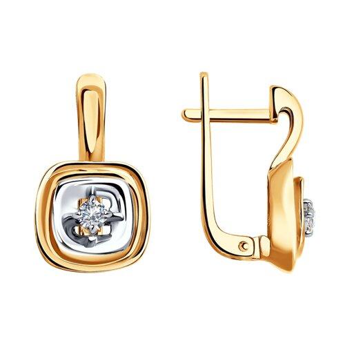 Серьги из комбинированного золота с бриллиантами (1021300) - фото