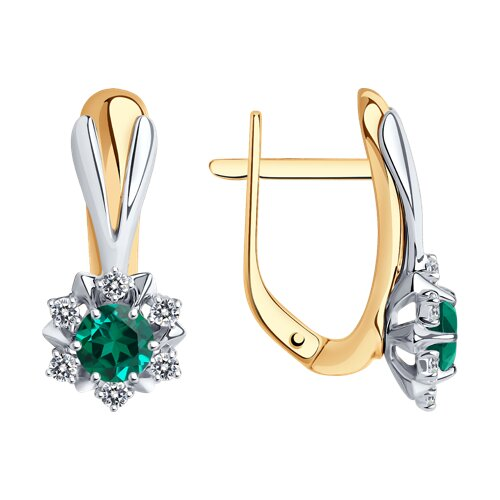 Серьги SOKOLOV из комбинированного золота с изумрудами и бриллиантами серьги sokolov из комбинированного золота с бриллиантами и изумрудами
