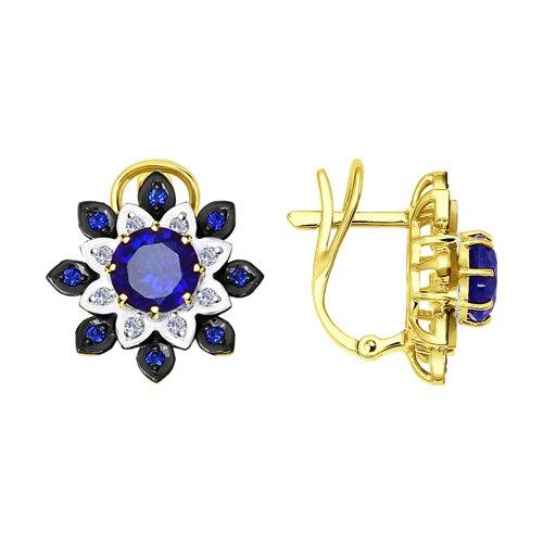 Серьги из желтого золота с бриллиантами и синими корунд (синт.) (6022053-2) - фото