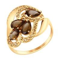 Кольцо из золота с раухтопазами и жёлтыми фианитами