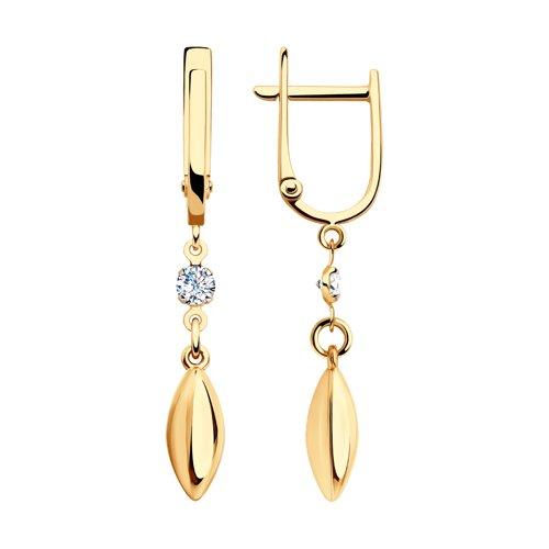 Серьги из золота с фианитами (028228) - фото