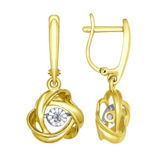 Серьги из желтого золота с бриллиантами (1021084-2) - фото