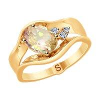 Кольцо из золота с бриллиантами и морганитом