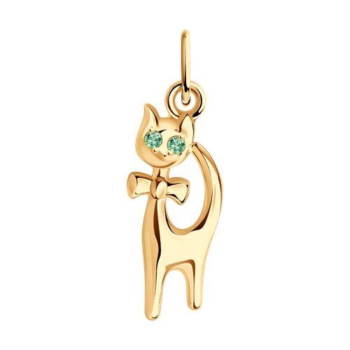 Золотая подвеска«Кошка» с зелеными фианитами (033067) - фото