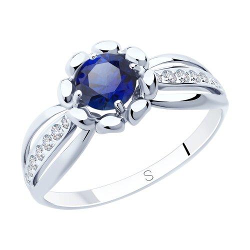 Кольцо из серебра с синим корунд (синт.) и фианитами (88010065) - фото