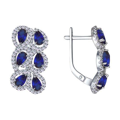 Серьги из серебра с синими корунд (синт.) и фианитами (88020055) - фото
