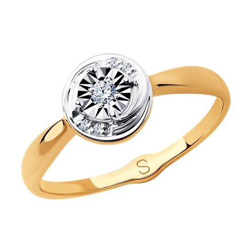 Кольцо из комбинированного золота с бриллиантами (1011862) - фото