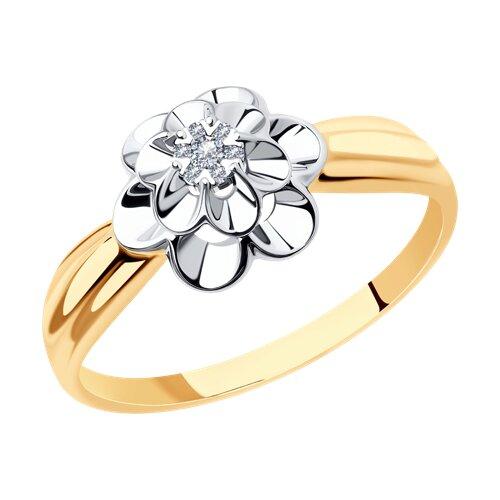 Кольцо из комбинированного золота с бриллиантами (1011517) - фото