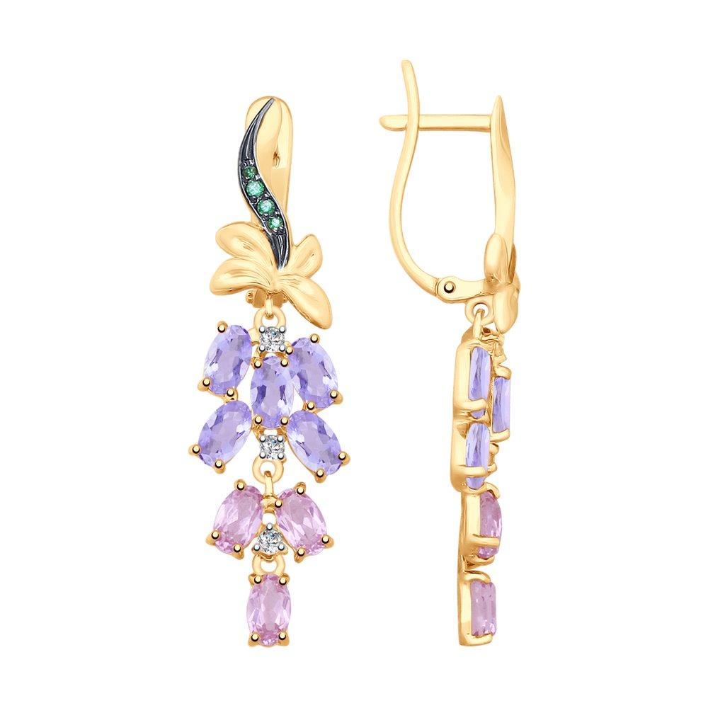 Серьги SOKOLOV из золота с аметистами и голубыми ситаллами фото