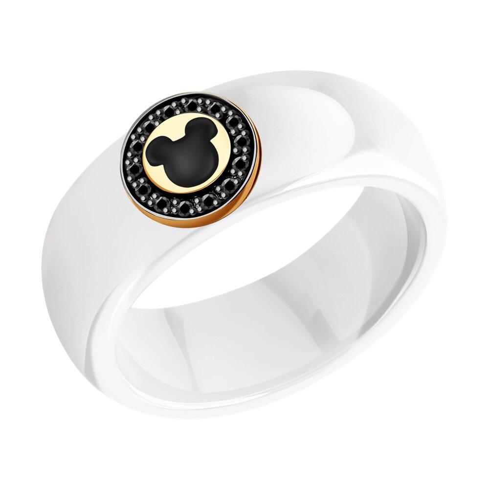 Кольцо SOKOLOV из золота с эмалью и родированием и бриллиантами и керамическими вставками